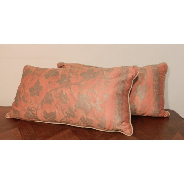 Fortuny Orange & Silver Lumbar Pillows - A Pair For Sale - Image 5 of 5