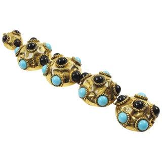 French Artisan Designer Jeweled Link Bracelet Resin & Poured Glass Cabochons For Sale