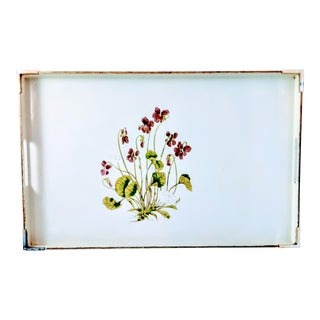 Otigari Japan Mid-Century Purple Floral Violets Tray For Sale