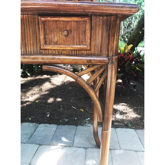 Vintage Bamboo Pagoda Vanity Table - Image 4 of 7