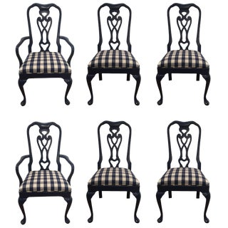 Sensational Set of Six Lacquered and Gingham Upholstered Dining Chairs For Sale