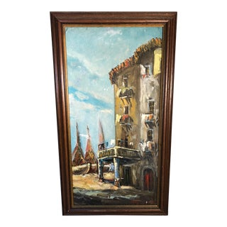 Antique Impressionist Style Italian Street Scene W/Boats & Building Oil Painting For Sale