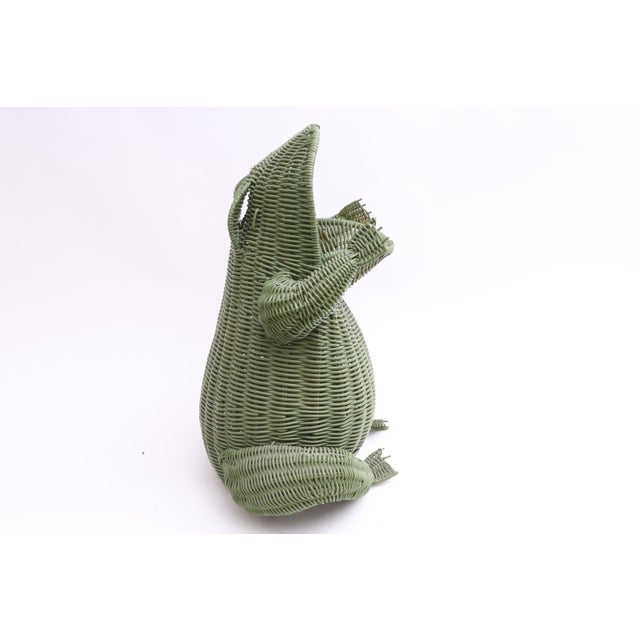 Mid Century Large Wicker Frog Basket For Sale - Image 4 of 7