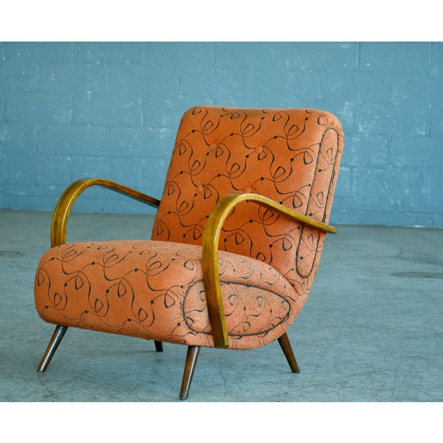 Very cool Paolo Buffa-style lounge chair, circa 1950s. The chair is unmarked and the maker and designer is unknown, we...