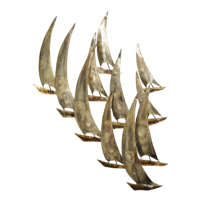 Vintage RaMan Brutalist Mid Century Modern Ships Boats Wall Sculpture Jere Style For Sale