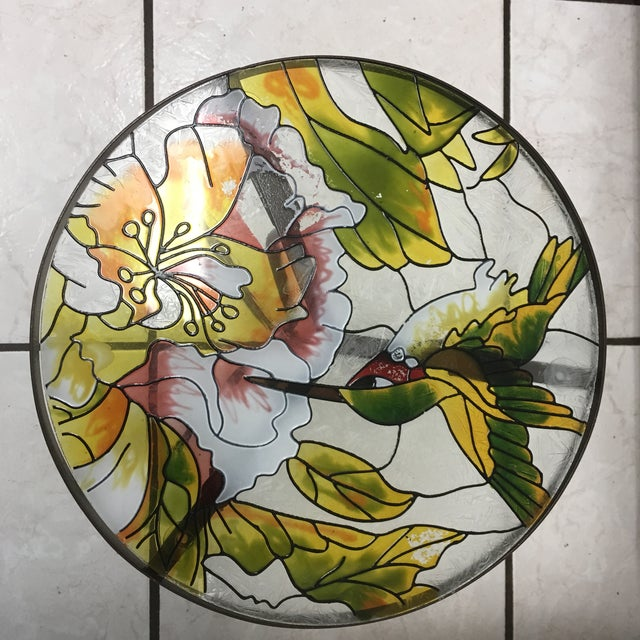 Green Hummingbird Stained Glass Accent Plant Stand Tables For Sale - Image 8 of 11