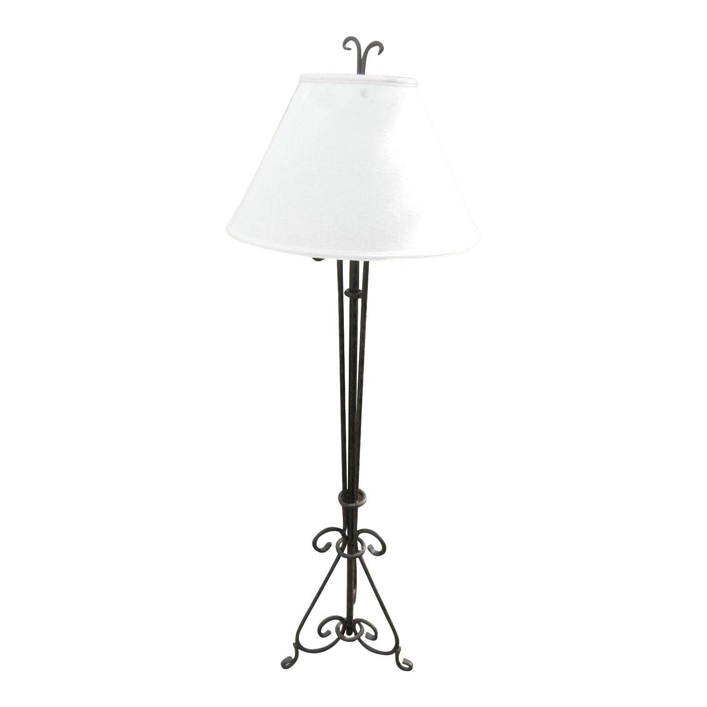Vintage Arts Crafts Wrought Iron Floor Lamp