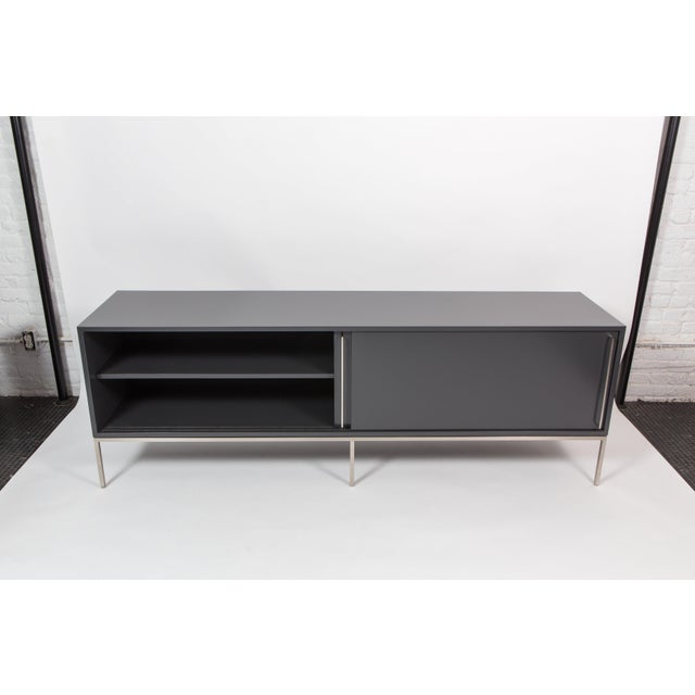 Modern re: 379 lacquer and satin nickel credenza For Sale - Image 3 of 7