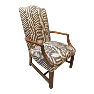 Single Upholstered Arm Chair in Zebra Fabric For Sale