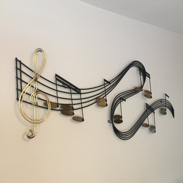 This large wall piece is 60 inches long, made of wrought brass and steel. It is signed c Jere and dated 1988. Excellent...