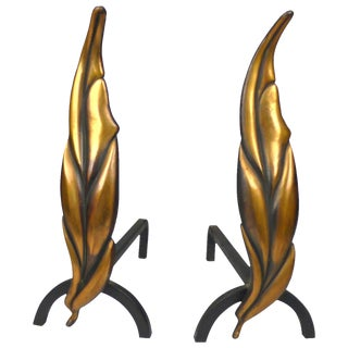 Solid Brass Flamed Leaf Andirons For Sale