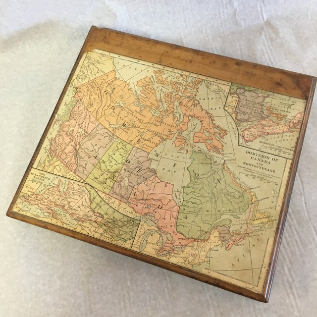 Wood Vintage Wooden Drawer With Map For Sale - Image 7 of 9