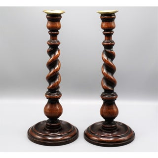 Antique English Oak Twist Candlesticks, Pair Preview