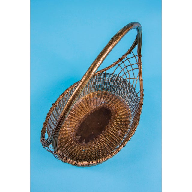 1960s 1960's Mid-Century Hand Woven Solid Brass Basket For Sale - Image 5 of 9
