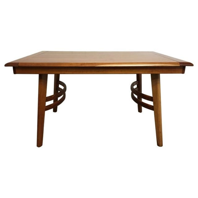 Gold Cherrywood Dining Table in the Manner of Paul Laszlo For Sale - Image 8 of 8