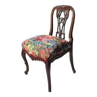 Carved Mahogany Side Chair For Sale
