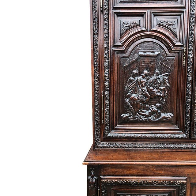 17th Century Renaissance Hand Carved Wood Armoire of Knights and Hunting Scene France For Sale - Image 4 of 12