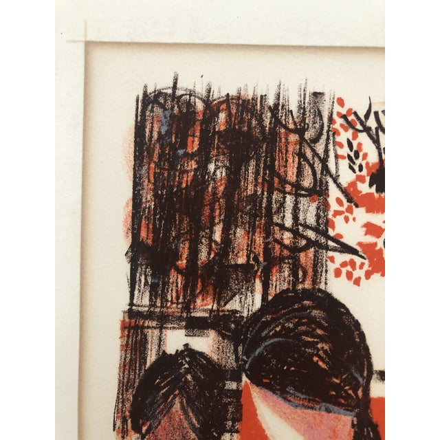 Lady in an Interior Color Woodcut 1960s For Sale - Image 6 of 9