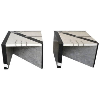 Pair of Postmodern Tessellated Stone Side Tables For Sale