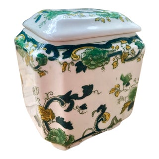 Vintage Floris English Green Floral Transferware Potpourri Jar For Sale
