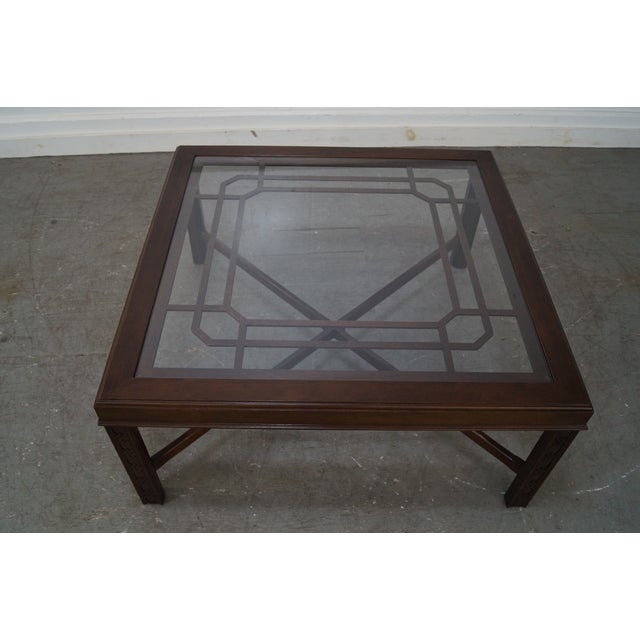 Chippendale Style Cherry Glass Top Coffee Table - Image 7 of 10