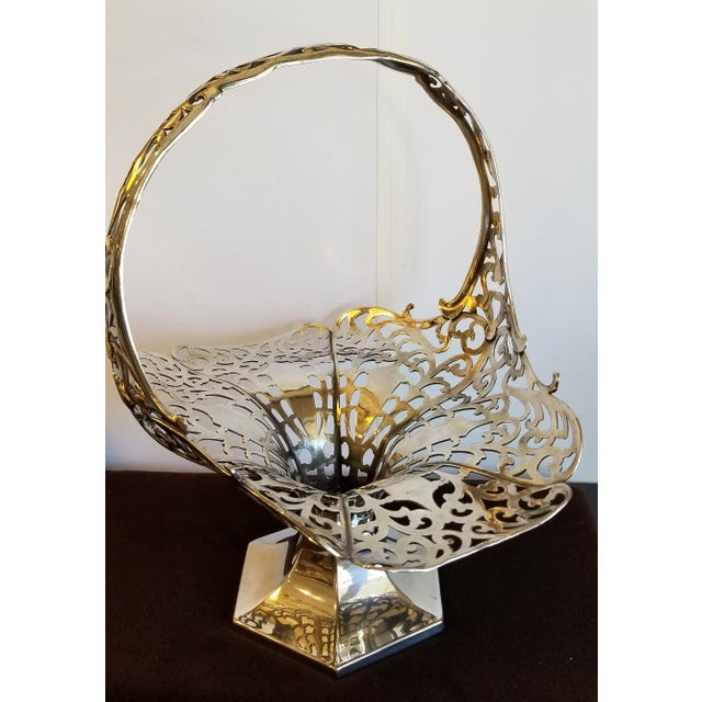 Stunningly beautiful and extraordinarily large silver plate Bride's basket by Forbes Silver Plate Co. It is hallmarked and...