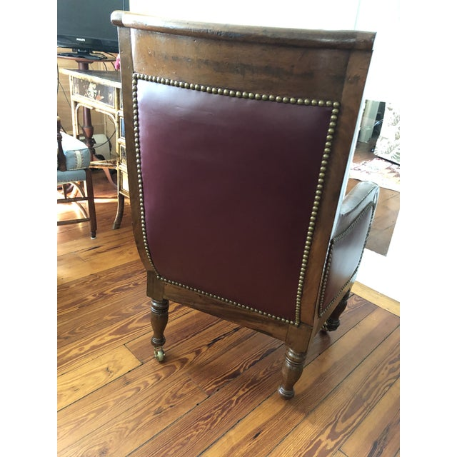 Mid 19th Century 19th Century Empire Mahogany Library Chair on Brass Casters For Sale - Image 5 of 11