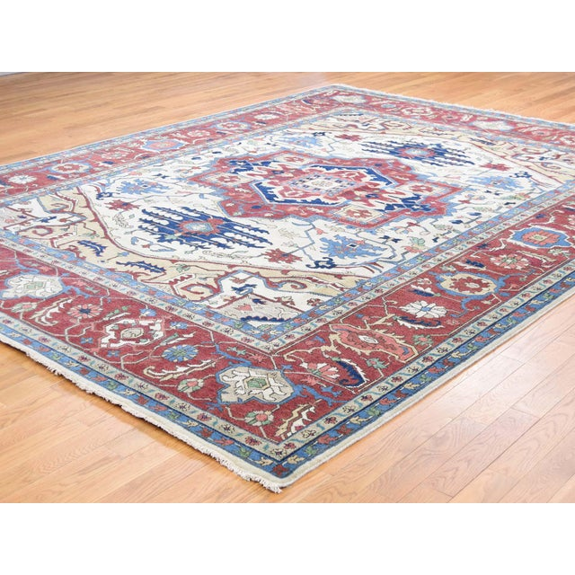 Shahbanu Rugs Hand-Knotted Wool Serapi Heriz Tribal Design Rug- 9′ × 11′9″ For Sale - Image 4 of 13