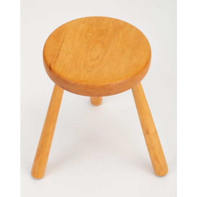 French Rustic Modern Three-Legged Stool in Pine Wood For Sale - Image 4 of 10