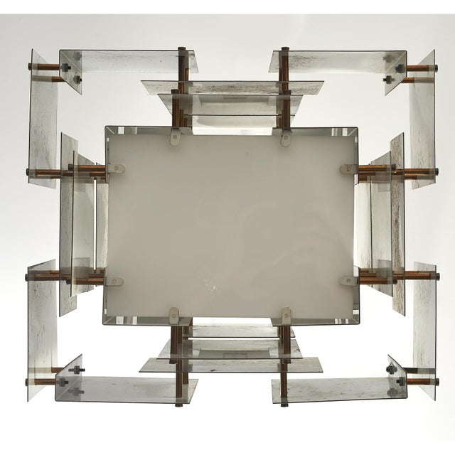 Satin Steel Floating Panel Chandelier by Robert Sonneman For Sale - Image 11 of 11