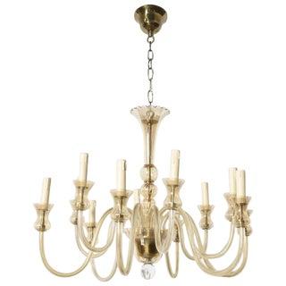 Murano Twelve-Light Amber Glass Chandelier For Sale