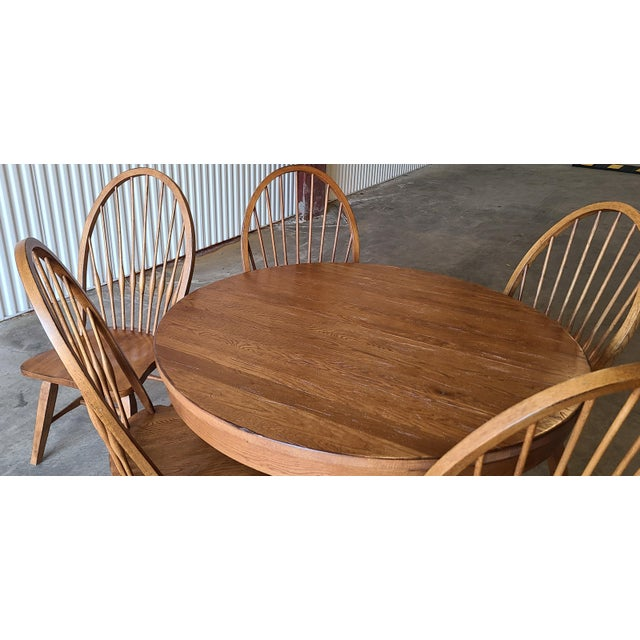 Broyhill Furniture Attic Heirlooms Dining Kitchen Set ~ Solid Oak Table W/ 6 Windsor Side Chairs For Sale - Image 10 of 13