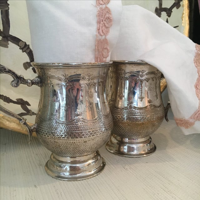 Vintage Silver Plated Etched Mugs/Tankards - Pair For Sale In Baltimore - Image 6 of 6