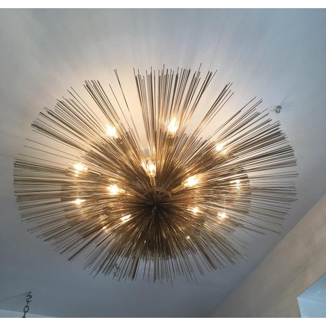 Metal Curtis Jere Brass Nest Flush Light Chandelier For Sale - Image 7 of 8