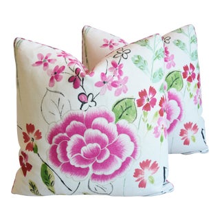"French Manuel Canovas Floral Linen Feather/Down Pillows 20"" Square - Pair For Sale"