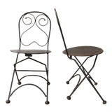 Image of Vintage Iron Folding Chairs - A Pair For Sale