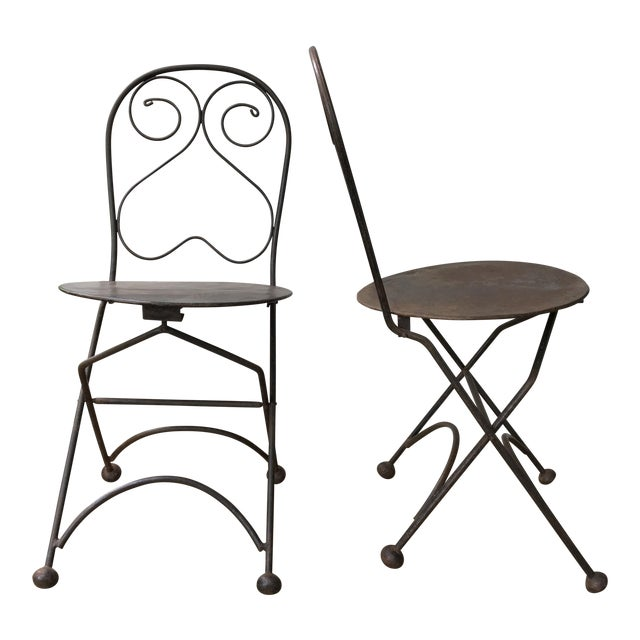 Vintage Iron Folding Chairs - A Pair - Image 1 of 6