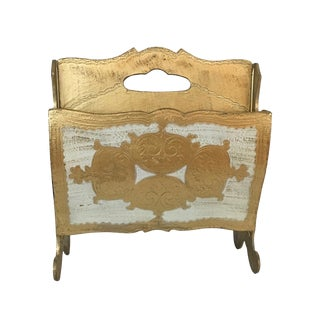 1940s Italian Gilded Metal Magazine Rack For Sale