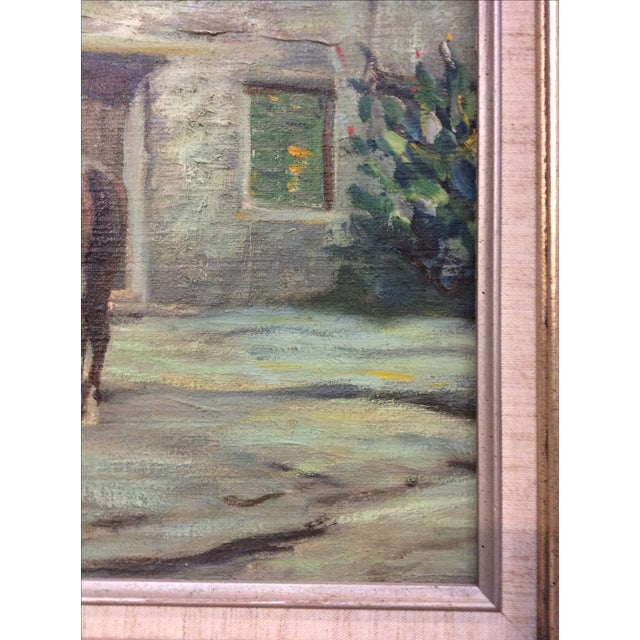 """Cowboy Bringing Flowers"" Vintage Oil Painting For Sale - Image 10 of 11"