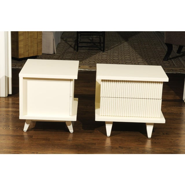 1938 Pair of Restored End Tables by Widdicomb in Cream Lacquer For Sale - Image 11 of 13