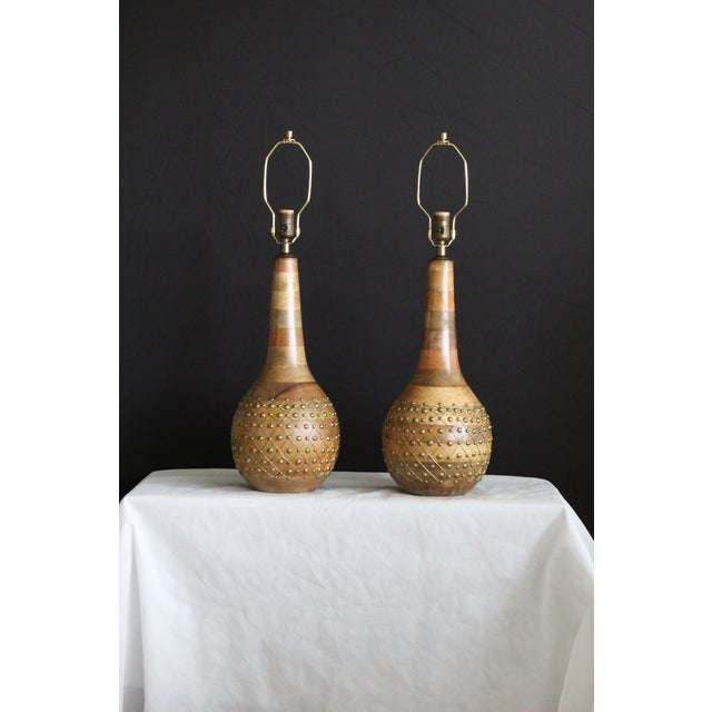 1960s 1960s Mid-Century Modern Pecan and Brass Table Lamps - a Pair For Sale - Image 5 of 6