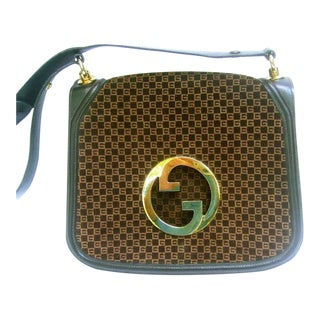 1970 Gucci Italy Chocolate Brown Suede Blondie Shoulder Bag For Sale