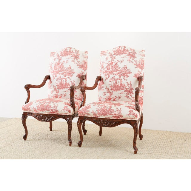 French Provincial Pair of French Provincial Style Walnut Toile Fauteuil Armchairs For Sale - Image 3 of 13