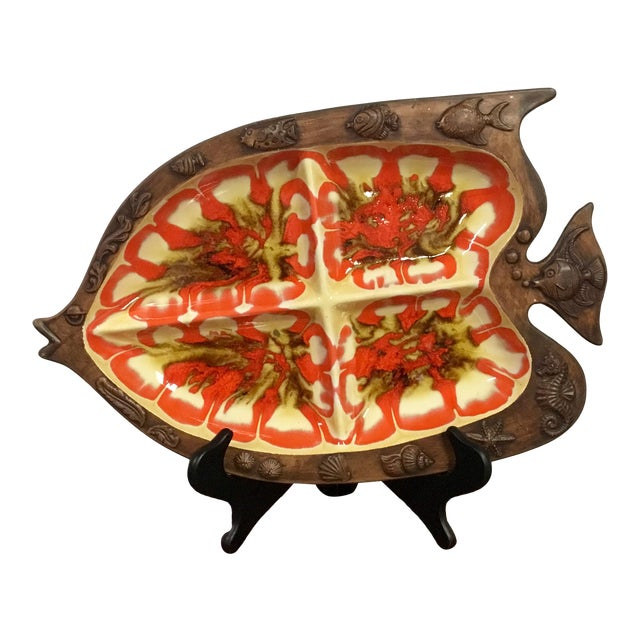 Mid Century Modern Retro Chic Ceramic Fish Serving Tray For Sale