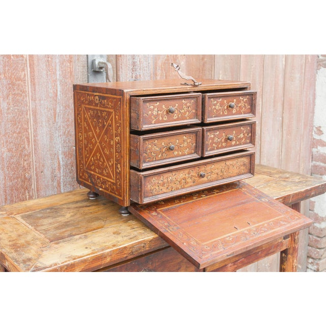 Spanish Vine Motif Wood Inlay Bargueno For Sale - Image 10 of 13