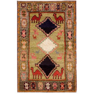 1920s Vintage Persian Gabbeh Rug - 4′ × 6′3″ For Sale