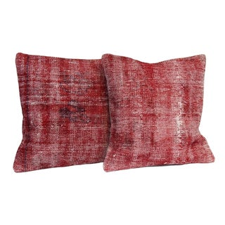 Vintage Red Overdyed Pillow Covers - A Pair