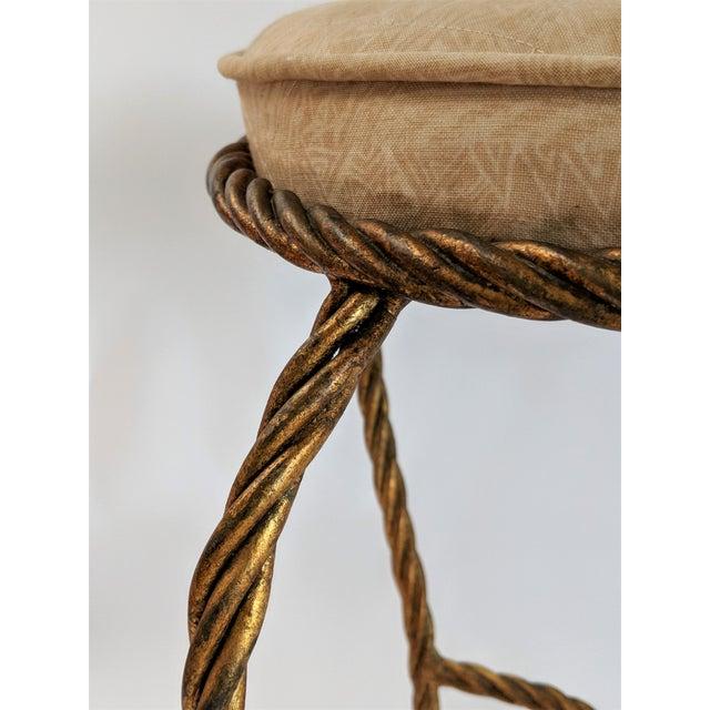 Metal Rope & Tassel Vanity Stool For Sale - Image 7 of 10
