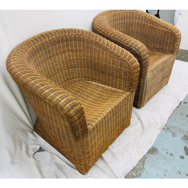 Eero Aarnio Pair Vintage Woven Wicker Club Chairs For Sale - Image 4 of 10