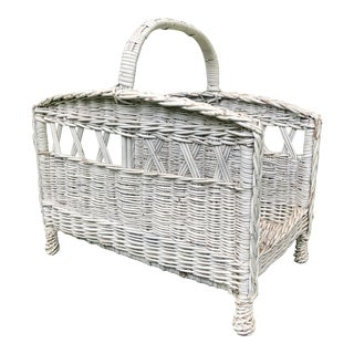 Antique Wicker Magazine Stand For Sale
